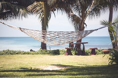 Vintage tropical background with hammock between palms on tropical beach and sea view Royalty Free Stock Photography