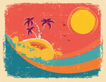 Vintage tropical card on old paper texture. Royalty Free Stock Image
