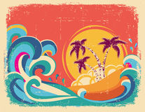 Vintage tropical card on old paper texture. Vector background royalty free illustration