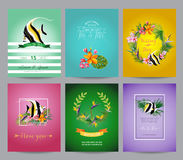 Vintage Tropical Fish and Exotic Flowers Card Set for Birthday, Wedding, Baby Shower, Party. In vector Royalty Free Stock Photo