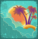 Vintage tropical island background with sun and da Stock Photography