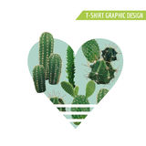 Vintage Tropical Summer Cactus Heart Graphic Design for T shirt, Fashion, Prints. In Vector Stock Image