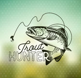 Vintage trout fishing emblems Royalty Free Stock Photo