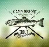 Vintage trout fishing emblems Stock Photo