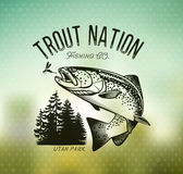 Vintage trout fishing emblems. Trout Fishing emblem on blur background. Vector illustration Stock Images
