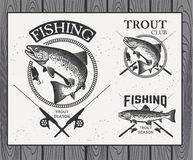 Vintage trout fishing emblems, labels and design Stock Photos