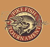 Vintage trout fishing emblems, labels and design. Vintage pike fishing emblem, design element and label Stock Photos