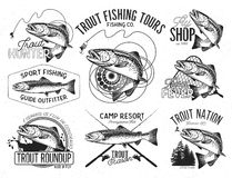 Vintage trout fishing emblems. Set of vector fishing emblem with trout Royalty Free Stock Images