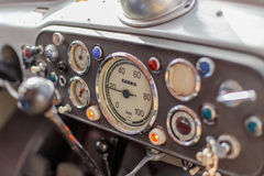 Vintage Truck Dashboard. Dashboard with speedometer of a vintage truck crawling at low speed Royalty Free Stock Photography