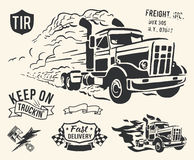 Vintage truck delivery theme. Isolated cargo theme on off white background Royalty Free Stock Photography