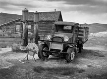 Vintage truck and gas pumps in Bodie ghost town. Old truck and gas pumps in Bodie Royalty Free Stock Images