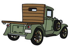 Vintage truck. Hand drawing of a vintage green lorry truck - not a real model Stock Images