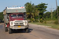 Vintage truck on the street of Cuba. Vintage soviet truck with the inscription taxi moves on the road Stock Photography