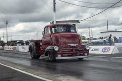 Vintage truck on the track Stock Photo