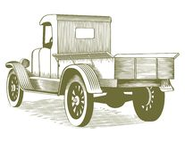 Vintage Truck. Woodcut style illustration of an old farm truck Stock Photo