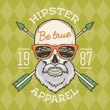 Vintage True bearded Hipster skull vector. True bearded Hipster skull vector with geek sunglasses and crossed arrows. Crazy deadman insignia template. Smiling Stock Photography