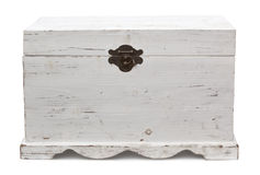 Vintage Trunk. Old wooden trunk, closed.  Distressed painted finish.  Clipping path included Royalty Free Stock Photo