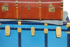 Vintage trunk luggage and a suitcase. Blue trunk luggage and a suitcase in leather vintage travelers Royalty Free Stock Image