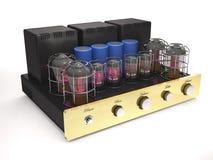 Vintage tube amplifier 3d illustration. Vintage tube amplifier with glowing valves on white background 3d illustration Stock Image