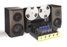 Vintage tube amplifier, reel tape recorder and loudspeakers 3d. Vintage tube amplifier, reel tape recorder and loudspeakers on white background 3d illustration Royalty Free Stock Image