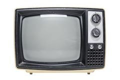 Vintage TV With Blank Screen. A vintage tube television with a black screen isolated on a white background royalty free stock images