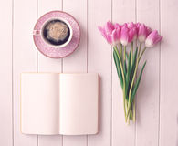Vintage tulips and coffee cup Stock Images