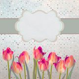 Vintage tulips postcard with flowers. EPS 10 Stock Photos