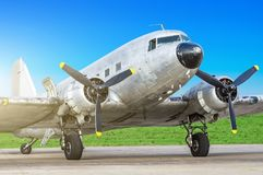 Vintage turboprop airplane parked at the airport.  Royalty Free Stock Images