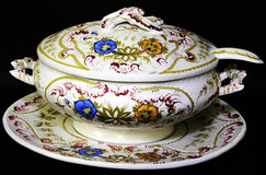 Vintage tureen. A vintage decorative white painted tureen, one part of a dinner service Royalty Free Stock Images