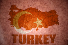 Vintage turkey map. Turkey map on a vintage turkish flag background stock images