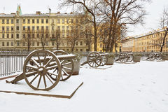 Vintage Turkish cannons near Trinity Cathedral Royalty Free Stock Photo