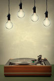 Vintage  turntable and Edison tipe bulb Stock Photos