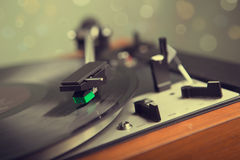 Vintage  turntable with party light Royalty Free Stock Image