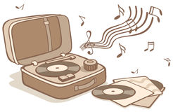 Vintage turntable and plates. Cartoon vintage turntable and plates Stock Photos