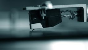 Vintage turntable playing closeup stock video footage