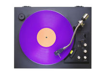 Vintage turntable with purple vinyl record,isolated on white bac Stock Images