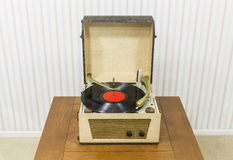 Vintage Turntable with Red Record Album Stock Photography
