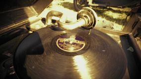 Vintage turntable with vinyl disc stock video