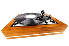 Vintage turntable vinyl record player isolated on white Stock Images