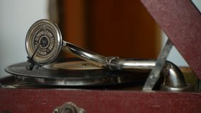 Vintage turntables - playing vinyl records. Memories of times gone by stock video