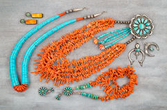 Vintage Turquoise, Branch Coral and Silver, Native American Jewelry. Stock Photos