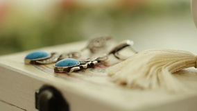 Vintage Turquoise Earrings. On a box stock video