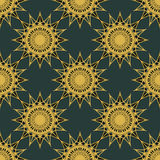 Vintage turquoise and gold seamless pattern Royalty Free Stock Photos