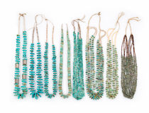 Vintage Turquoise Native American Necklaces Stock Photography