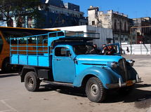 Vintage Turquoise Truck In Havana Cuba Royalty Free Stock Photo