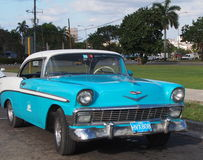 Vintage Turquoise And White Cuban Car Stock Photo