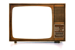 Vintage TV. Front view of vintage TV with white-blank-screen Royalty Free Stock Images