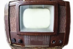 Vintage TV. Isolated in white Stock Photos