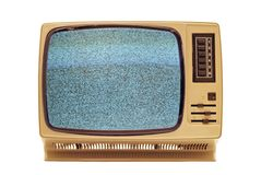 Vintage tv. Vintage television turned on, isolated on white background royalty free stock photos