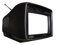Vintage TV. From the seventies, isolated on white background, free picture space Royalty Free Stock Images